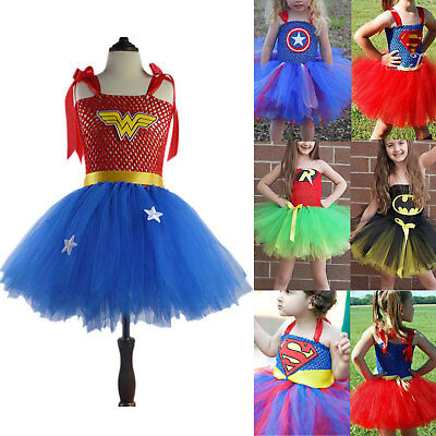 Superhero Kid Cosplay Costume Girls Wonder Woman Tutu Dress Party Batman Outfits