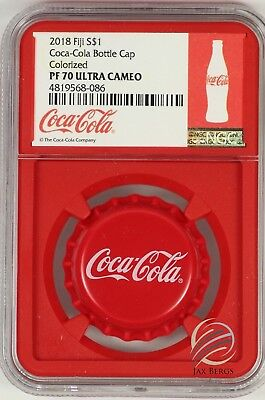2018 Fiji Coca- Cola Bottle Cap Silver Coin NGC PF70 Red Core Box & COA - UC