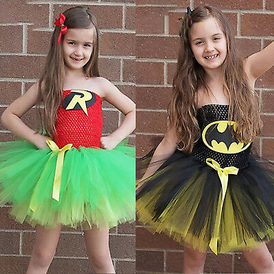 Girls Tulle Tutu Dress Superhero Unicorn Vampire Cosplay Costume Fancy Dress US