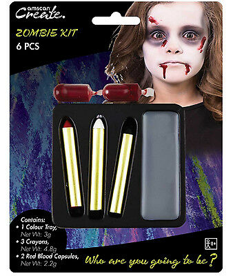 Zombie Pittura Viso & Sangue Palco Make Up Costume Halloween Pittura Viso