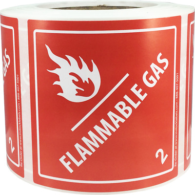 Hazard Class 2 D.O.T. Flammable Gas Labels 4x4 Inch Square 500 Adhesive Labels