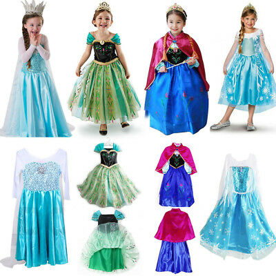 Disney Princess Elsa Dress Fancy Anna Girls Party Kids Cosplay Frozen Christmas
