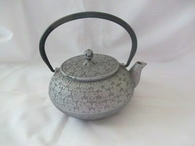 Japanese Cast Iron Teapot  Signed - Silver finish