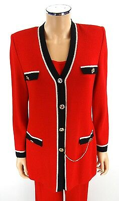 ST JOHN COLLECTION Pant Suit 3-Pieces SIZE 6 Red Black Jacket Top Santana Knits