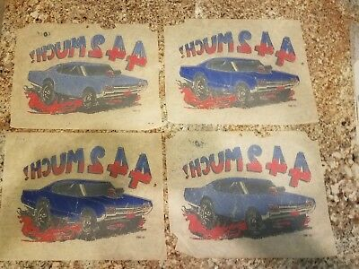 Lot of 4 Vintage 442MUCH Iron-On T-Shirt Transfer CC1967 Oldsmobile 442