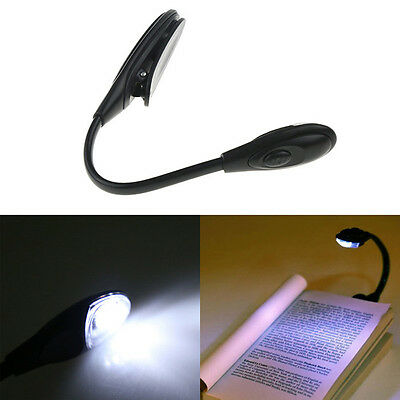 Balck Portable Travel LED Study Reading Light Book Night Lamp Clip Booklight