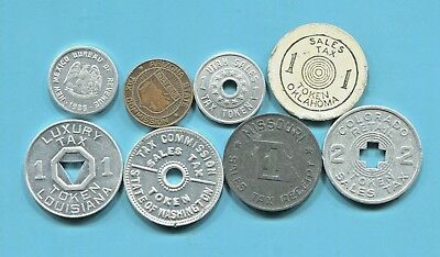 Eight Beautiful Historical Sales Tax Tokens From Eight Different States