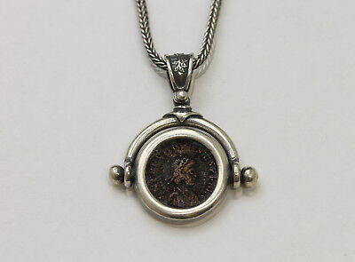 Sterling Silver Neckless with Genuine Ancient Coin, Roman Bronze. w/Cert - 036