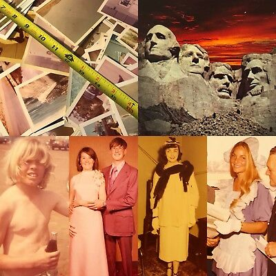 #14 100 VTG SNAPSHOTS Photos OLD Color PHOTOGRAPHS 1950-70s Lot WHITE BORDERS