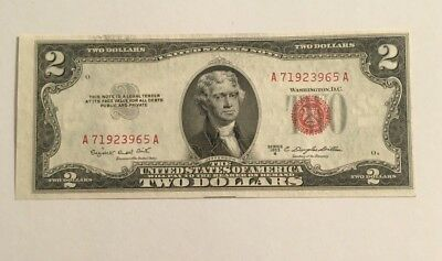 1953 B Red Seal Notes 2 Dollar Bill Federal Reserve Uncirculated