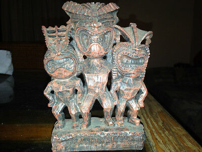"Unique Ancient Chinese or Tiki ""God with two wives"" -   cute sculpture"