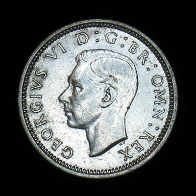 1937 Great Britain Six 6 Pence silver coin AU/UNC