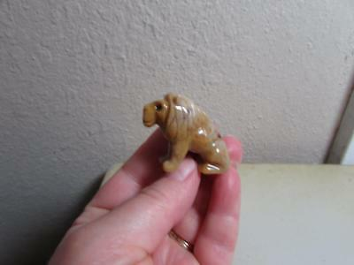 Lion, African, Miniature Hand carved Marble from the Andes, Rich Multi Hued Lion