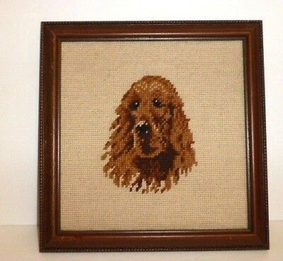 Vintage Irish Setter Hand Stitched Framed Needlepoint Art, Ca. 1970's, A+ Cond.