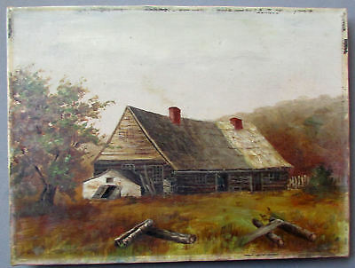ANTIQUE 19th Century LANDSCAPE Oil Painting on Canvas OLD HOMESTAED CABIN 1880's