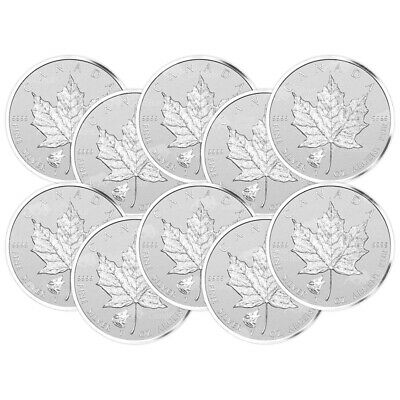Lot of 10 x 1 oz 2016 Canadian Maple Leaf Wolf Privy Silver Coin
