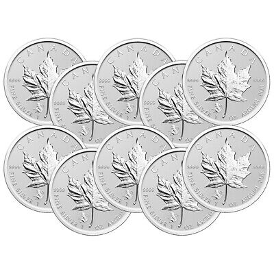 Lot of 10 x 1 oz 2016 Canadian Maple Leaf Year of the Monkey Privy Silver Coin