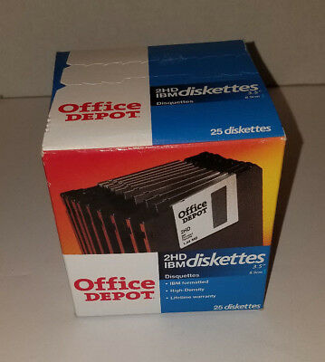 "Office Depot 2HD IBM 3.5"" Diskettes 1.44 MB Box of 25 Diskettes"