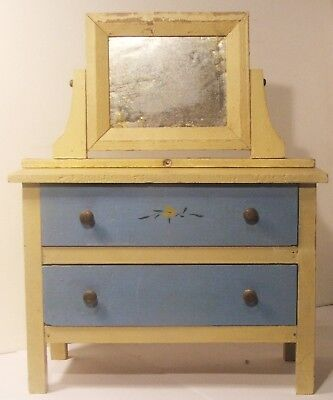 Painted Bureau Salesman Sample Doll Furniture 2 Drawer Mirror Stores in Cabinet