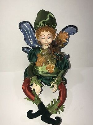 """12"""" Posable jointed Woodland Fairy Pixie Elf Doll Ornament Unmarked fall autum"""