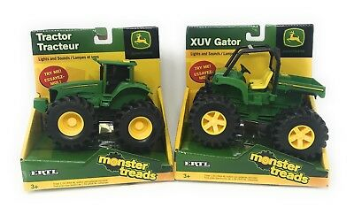 Ertl John Deere Monster Treads Tractor and XUV Gator with Lights and Sounds SET