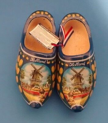"""Vintage Dutch Wooden Shoes 7 1/4"""" Netherlands Holland Windmill Tulip New W/ Tags"""