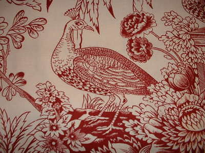 2 yds. Pearce Golding PEACOCK 100% Cotton Drapery & Curtain Fabric
