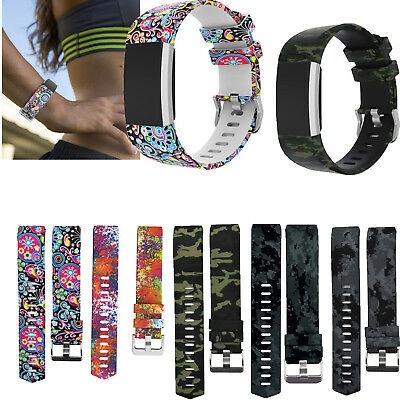 Replacement Soft Sport Band Camo Silicone Wrist Band Strap For Fitbit Charge 2 Q