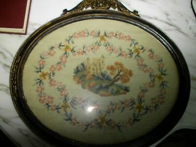 "Antique 19th Century Castle in Needlepoint & Petit Point  Oval - 18"" x 18"""