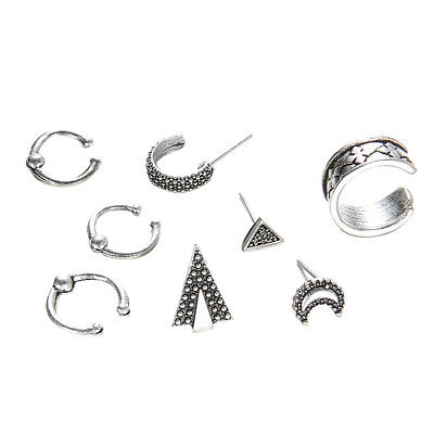 8Pcs Punk Assorted Boho Stud Earrings Set Vintage Moon Arrow Jewelry Sets