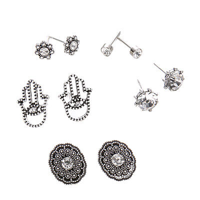 10Pcs Retro Assorted Boho Stud Earrings Set Crystal Flower Palm Earring Sets
