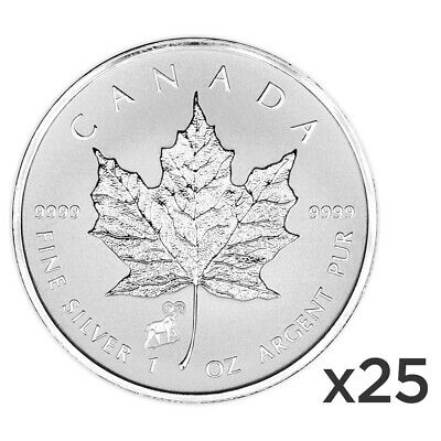 Lot of 25 x 1 oz 2015 Canadian Maple Leaf Year of the Sheep Privy Silver Coin