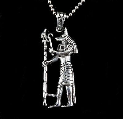 Handcrafted Solid 925 Sterling Silver EGYPTIAN PHARAOH w/Staff & Ankh Pendant