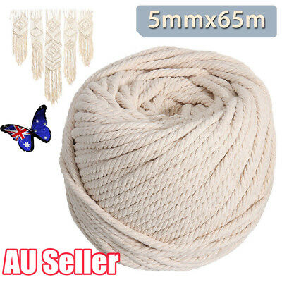 5mm 65M Macrame Rope Natural Beige Cotton Twisted Cord Artisan Hand Craft NEW LG
