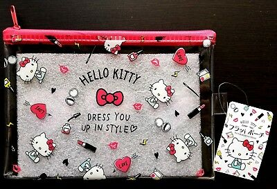 New SANRIO Hello Kitty Kawaii Cute Mesh Vinyl Case Pouch clear grid mesh type