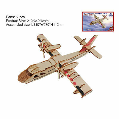 DIY 3D Puzzle Plywood Kids Toy Creative Airplane Fighter Developmental Fun Gift