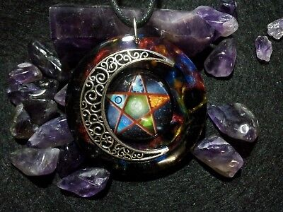 Pentacle Moon Pendant,pagan,wiccan jewelry,spiritual,occult,witchcraft,unisex