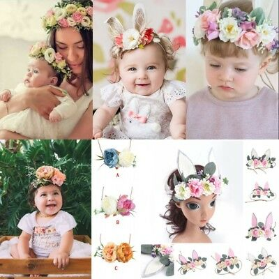 Photography Props Kids Baby Girls Flower Tiara Crown Lace Headband Accessories