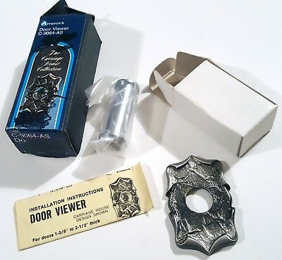 Amerock Carriage House Peephole Door Viewer Vintage New In Box Antique Silver