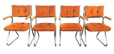 Mid Century DAYSTROM Dining Chairs Chrome Burnt Orange Set Of Four.