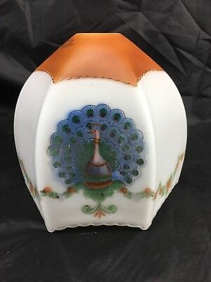 VINTAGE 1920's PEARLSTONE PEACOCK 3PLY GLASSWARE LIGHT/LAMP SHADE CZECHOSLOVAKIA