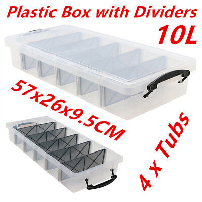 4 x 10L Clear Plastic Storage Box with Removable Dividers Containers Bin Tubs ww