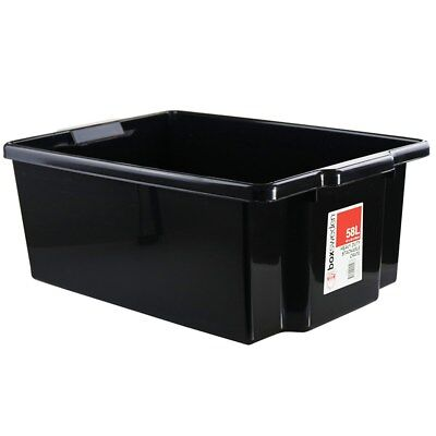 58L Heavy Duty Stack-able Large Plastic Storage Tubs Crates Containers Boxes