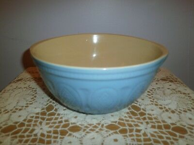 Vintage Style Mixing Bowl ~ Blue & Cream Glazed Stoneware