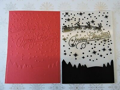 Christmas Embossing Folder Suits Sizzix or Cuttlebug -  Merry Christmas