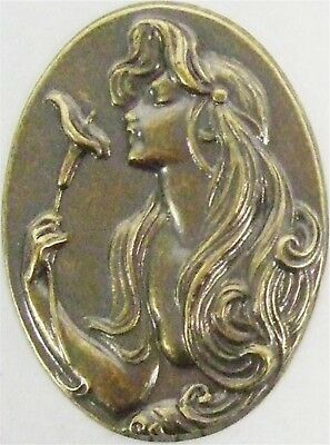 Finely Etched Ox Brass Lady With Calla Lily Art Nouveau Style Stamping USA