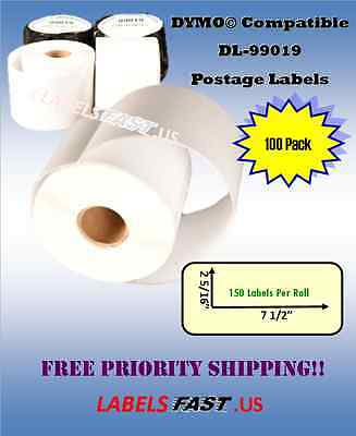 100 Rolls of Dymo® LabelWriter® 99019 TURBO Compatible Address Labels Waterproof