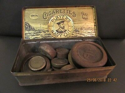 Players cigarette tin containing vintage scale weights