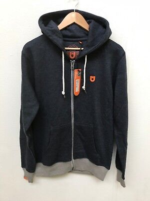Unsung Hero Men's Islington Full Zip Hoodie - Various Sizes - Navy/Orange - New