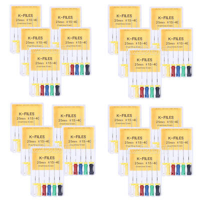 20 Boxes Dental Endo Root Canal K-Files 25mm 15#-40# Hand Use Stainless Steel UK